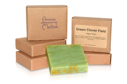 Arrow Mattick green clover field handmade soap